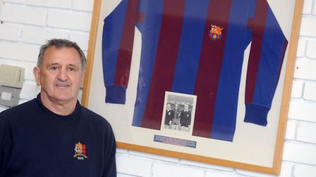 Roger Osborne, pictured with the shirt Johan Cruyff gave him after Ipswich Town's two-legged clash w