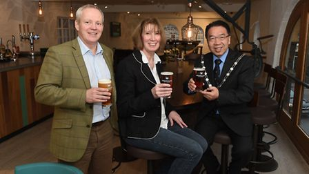 From left, Chris Houlton, Greene King managing director of brewing and brands, and Cathy Truin, visi