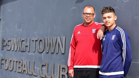 Jason and Andre Dozzell at the Ipswich Town training ground. Andre replcated his dad's feat last