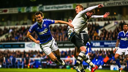 Tommy Smith dives for the ball during the Ipswich Town v Fulham (Championship) match at Portman Road