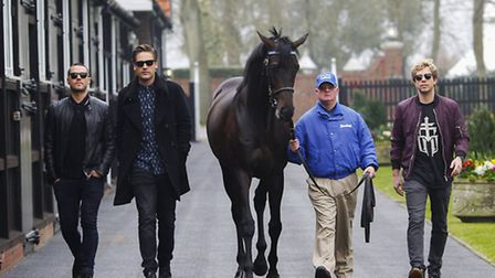 Matt Willis, Charlie Simpson and far right James Bourne take time out to visit Dalham Hall Stud, own