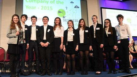 The winning team from Thomas Mills High School with their trophy at last year's Suffolk Young Enterp