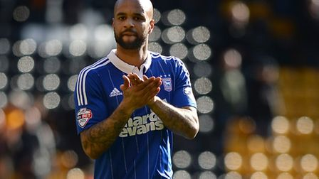 David McGoldrick applauds the travelling fans at Wolves after coming on as a second half substitute
