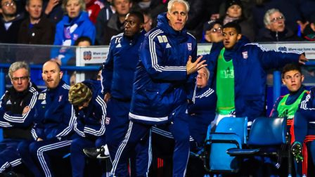 Town manager Mick McCarthy gets animated on the touchline during the Ipswich Town v Fulham (Champion