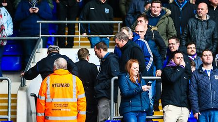Town fans leaving the stands after their side had conceded a third goal in the Ipswich Town v Brentf