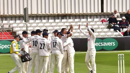 Essex v Gloucestershire. Essex County Cricket Ground. Essex celebrate after Chris Dent is out from
