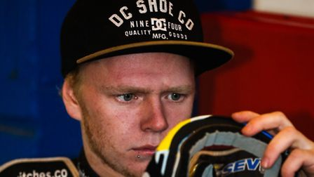 Cameron Heeps checks to see that his goggles are clean ahead of the Ipswich V Somerset (League Cup)