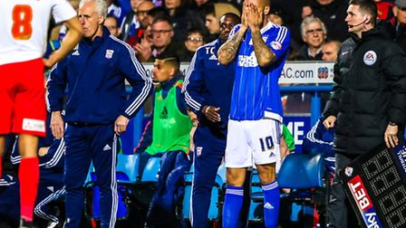 David McGoldrick with his face in his hands during the Ipswich Town v Charlton Athletic (Championshi