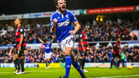 Jonathan Douglas celebrates his goal to level the score at 1-1 during the Ipswich Town v Queens Park
