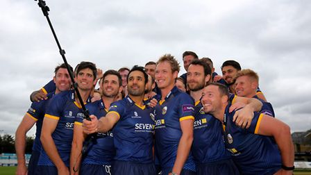 The Essex T20 Blast squad pose for a selfie during the media day at the Essex County Ground, Chelmsf