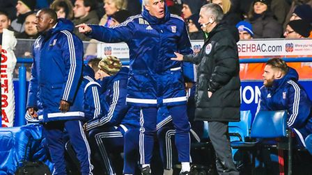 Town manager Mick McCarthy makes point to the 4th official early in the second half of the Ipswich T