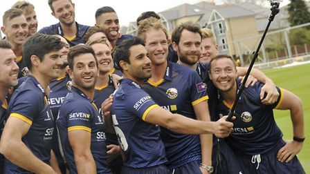 Essex County Cricketers pose for a selfie on the club's media day.