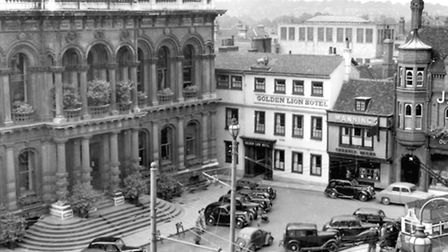 1951. The small car park on the Cornhill was used by visitors to the Town Hall and shoppers. This T
