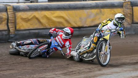 Fenland Fours.Mildenhall Stadium.3 April 2016.Joe Jacobs (red) falls after colliding with Paco C