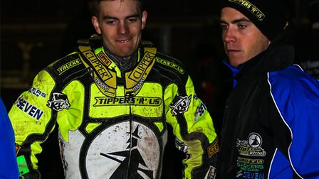 Ritchie Hawkins, right, with Lewis Kerr, who is riding for Lakeside tomorrow night. Richie Worrall r