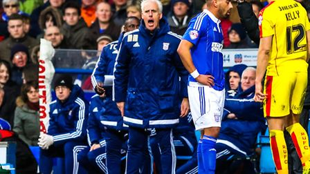 Town manager Mick McCarthy yells from the touchline during the Ipswich Town v Rotherham United (Cham