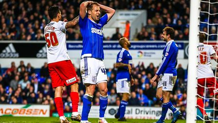 Luke Varney rues a missed opportunity during the second half of the Ipswich Town v Charlton Athletic