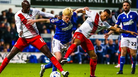 No way through for Ben Pringle during the Ipswich Town v Charlton Athletic (Championship) match at P