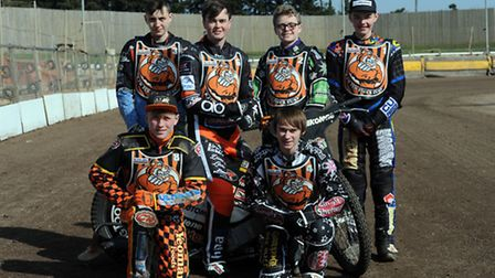 The Fen Tigers speedway press day at Mildenhall Stadium, West Row. The Cubs Back L-R: Taylor Hampshi