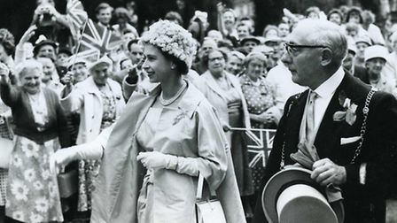The Queen visiting Bury St Edmunds in 1961