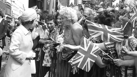 The Queen on a walk about in Ipswich to celebrate her Silver Jubilee in July 1977