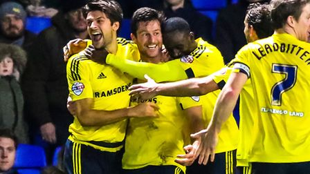 Middlesbrough players celebrate with David Nugent after he had scored their second goal in the Ipswi