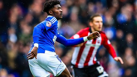 Ainsley Maitland-Niles in action during the Ipswich Town v Brentford (Championship) match at Portman