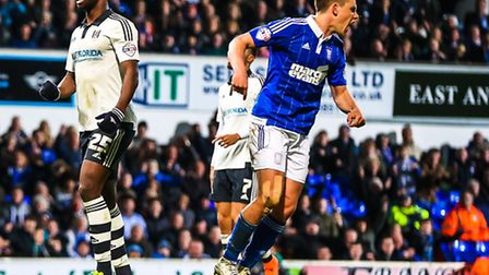 Jonas Knudsen turns to celebrate his goal that leveled the score at 1-1 in the Ipswich Town v Fulham