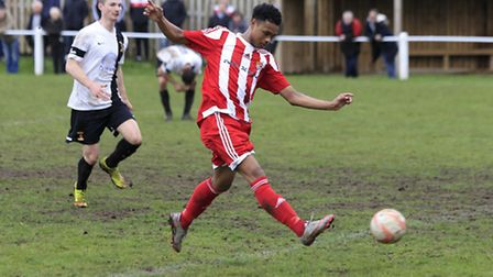 Kyron Andrews breaks clear to score his first senior goal for Felixstowe