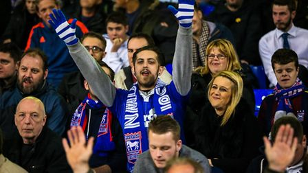 Supporters at the Ipswich Town v Charlton Athletic (Championship) match at Portman Road, Ipswich, on