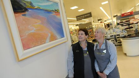 Lynne Walker (left) and Karen Sorrell at Waitrose during last year's Art About Town.