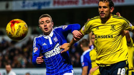 Freddie Sears battling with Christian Stuani during the Ipswich Town v Middlesbrough (Championship)