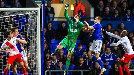 Bartosz Bialkowski saves with a punch late in the Ipswich Town v Charlton Athletic (Championship) ma