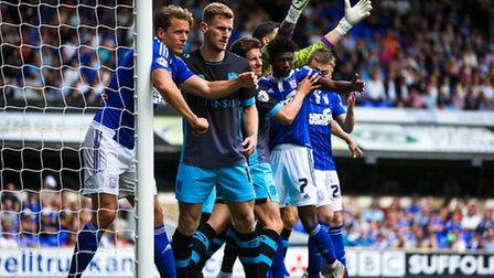 Goalmouth scramble ahead of an Ipswich corner during the Ipswich Town V Sheffield Wednesday match at