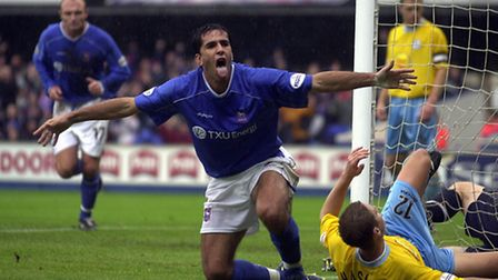 Pablo Counago scores against Sheffield Wednesday in 2002
