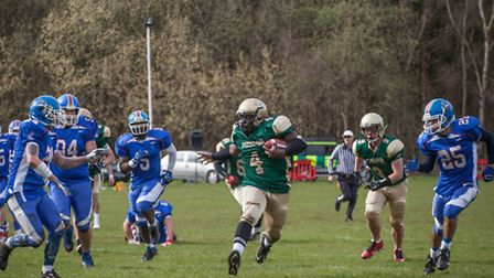 Bury Saints running back Tommy Ellerbee runs for his first touchdown against the Sussex Thunder