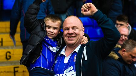 Fans at the Ipswich Town v Brentford (Championship) match at Portman Road, Ipswich, on 09 April 2016