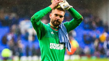 Bartosz Bialkowski applauds the Town fans after the Ipswich Town v Nottingham Forest (Championship)