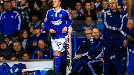 Teddy Bishop returns to the pitch during the second half of the Ipswich Town v Charlton Athletic (Ch