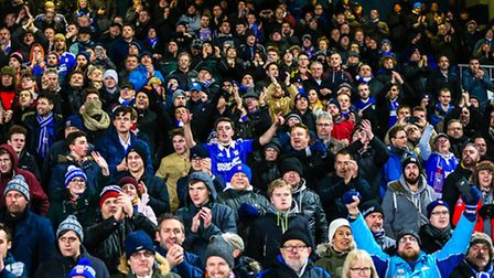 The Ipswich Town fans in the 2-1 win over Leeds