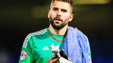 Bartosz Bialkowski applauds the fans after the Ipswich Town v Charlton Athletic (Championship) match