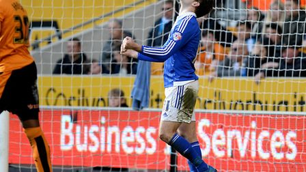 Brett Pitman shows his frustration after a missed second half chance at Wolves