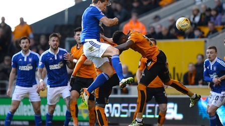 Christophe Berra with a second half header on goal from a corner at Wolves