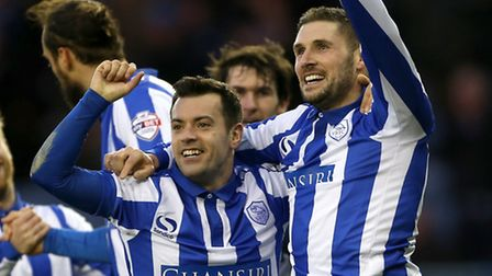 Sheffield Wednesday's Gary Hooper (right) celebrates scoring his teams fourth goal of the game with