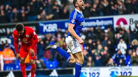 Daryl Murphy celebrates his and Town's second goal as the home side go 2-0 up in the Ipswich Town v