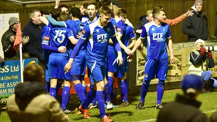 Ollie Canfer scores for Bury in their extra-time Suffolk Premier Cup semi-final defeat to Lowestoft