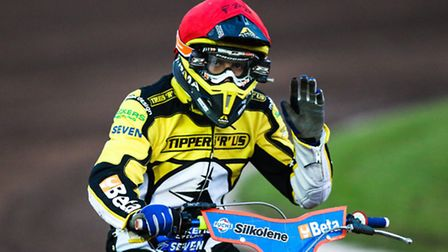Nico Covatti celebrates winning heat four of the Ipswich v Peterborough (League Cup) meeting at Foxh