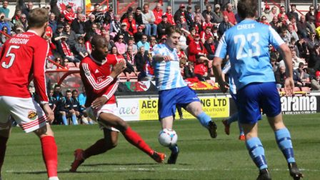 Braintree's Taylor Miles tries his luck at Wrexham
