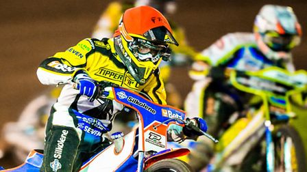Nico Covatti on his way to victory in heat eleven of the Ipswich Witches v Sheffield Tigers (League