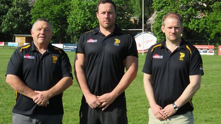 Bury Rugby's Pro AM Performance Director Terry Sands (left), Cai Griffiths and director of rugby, Ga